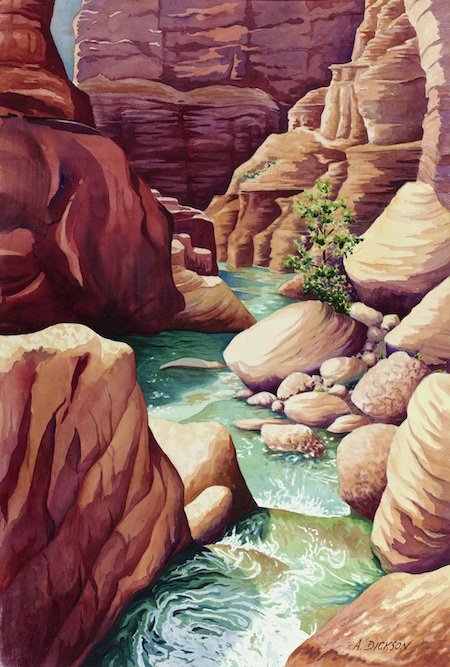 ©Alison Dickson, Havasu Splendor. Watercolor on paper, 30 x 22 inches. Used with permission.