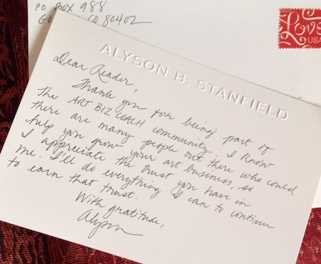 In Praise Of The Handwritten ThankYou Note  Art Biz Blog