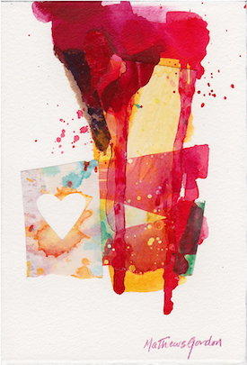 ©2014 Janice Mathews-Gordon, Heartthrob #1.  Acrylic and collage on paper, 6.5 x 4.5 inches. Used with permission.