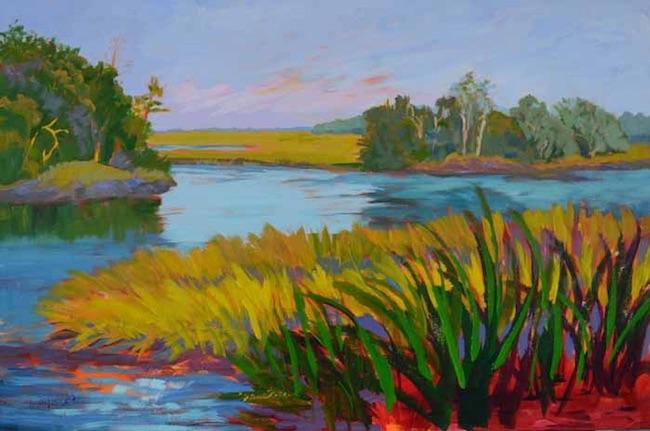 Lucinda Howe painting of colorful riverbank