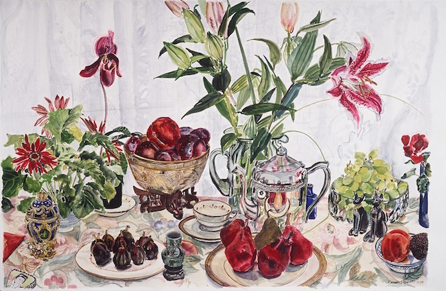©Karen LeGault, Still Life with Red Pears. Watercolor on paper, 24 x 36 inches. Used with permission.