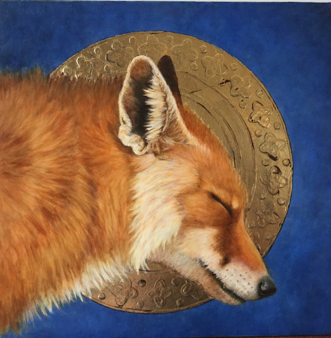 ©Marque Todd, Vixen with Halo. Oil and metal leaf on panel, 10 x 10 inches. Used with permission.
