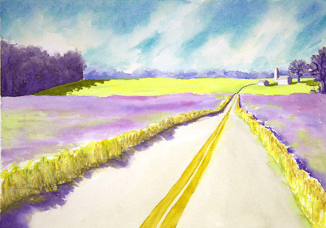 ©Robin Edmundson, Henbit Fields #1. Watercolor on paper, 10 x 14 inches. Used with permission.