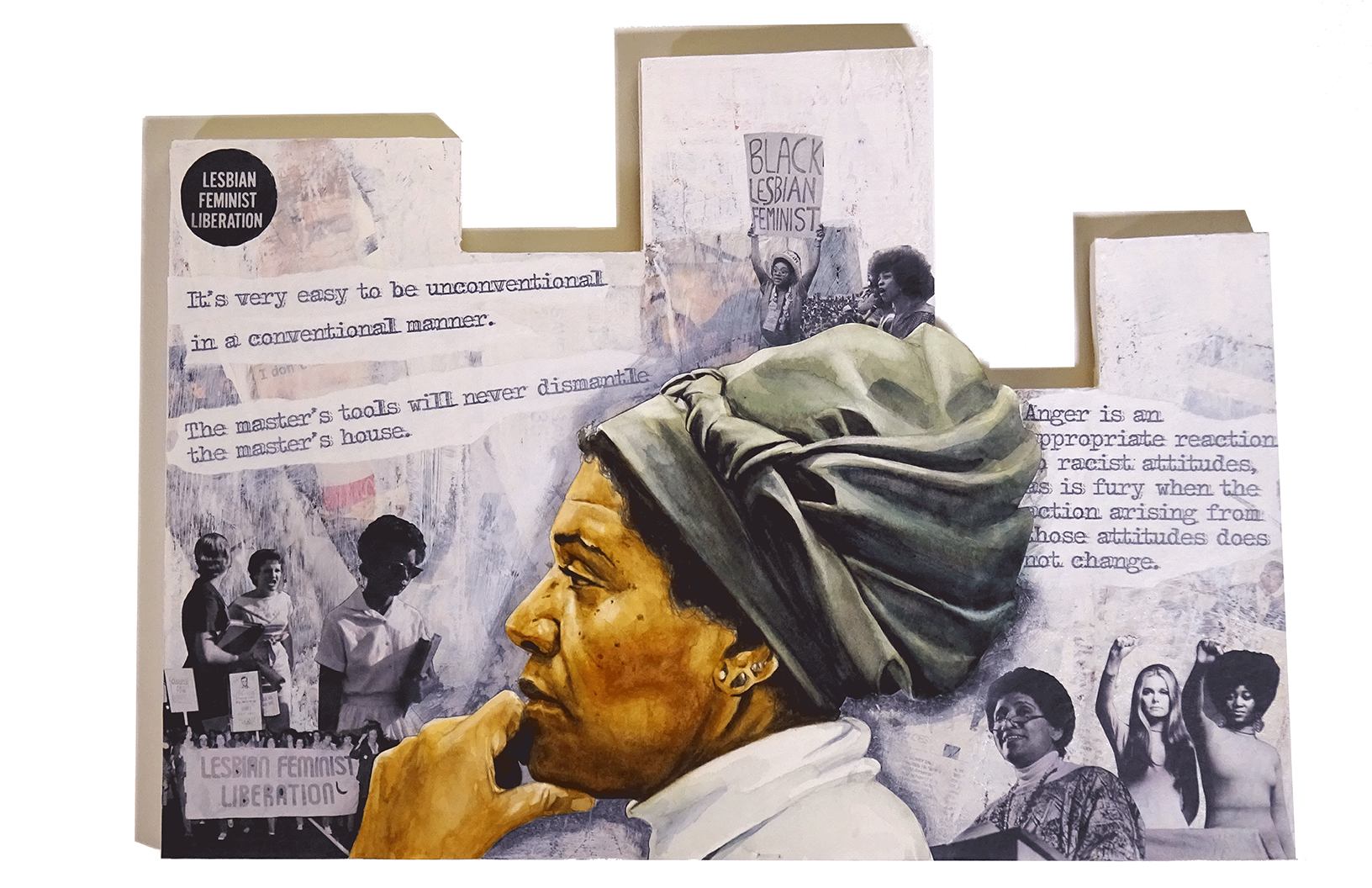 Mixed media painting of Audre Lorde by Adri Norris