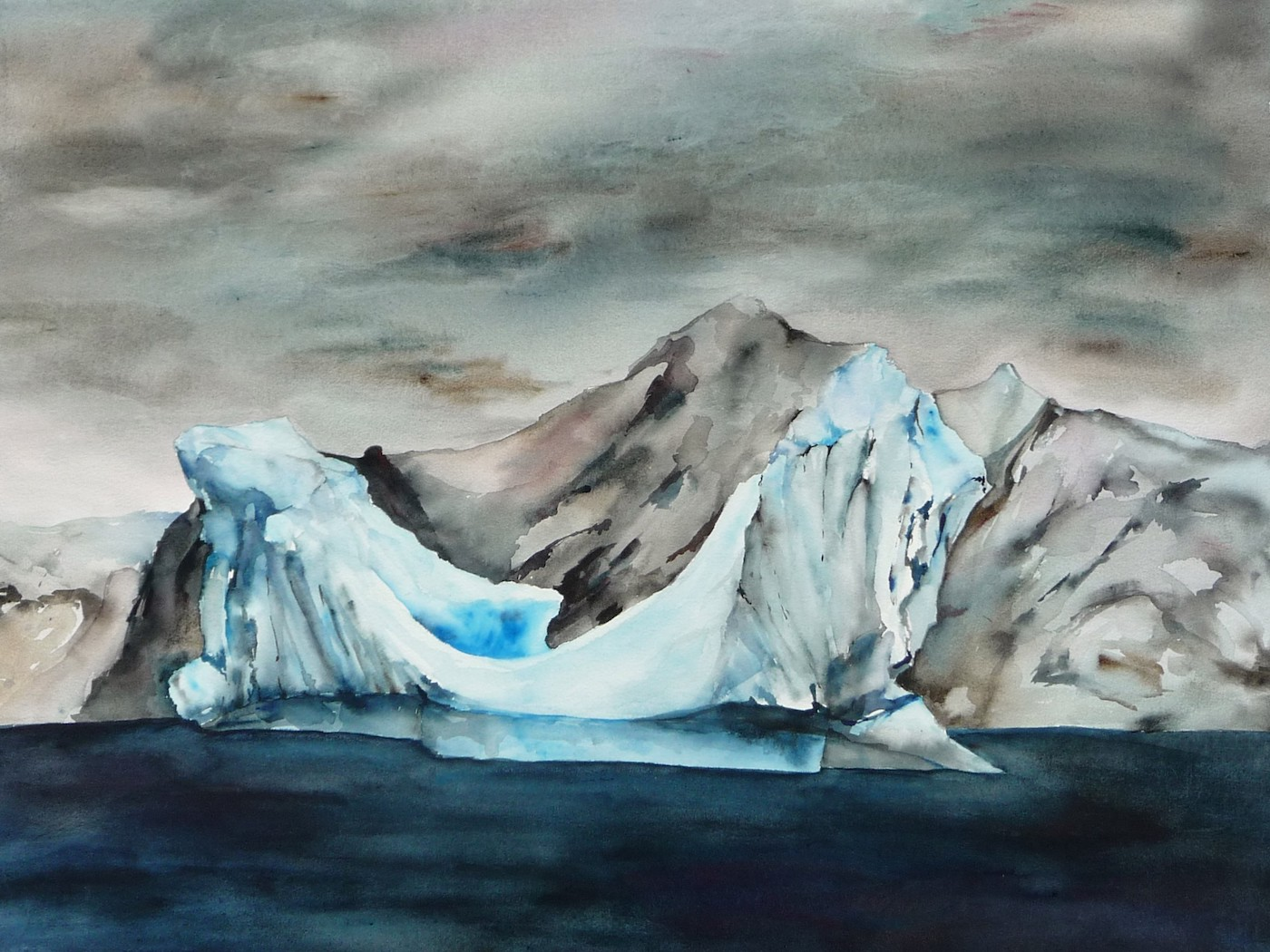 Watercolor painting Iceberg from our zodiac antarctica artist Lisa Goren watercolor on paper 22 x 30 inches